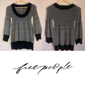 Free People Peplum Babydoll Striped Wool Sweater